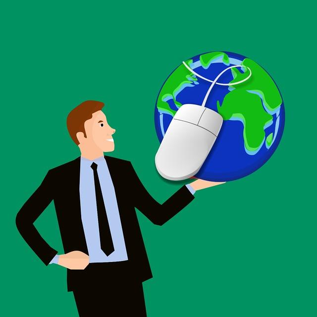 muž držící v ruce Zemi obtočenou počítačovou myší